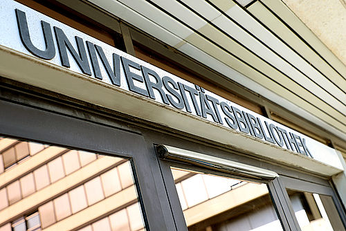 University Library lettering over the main entrance