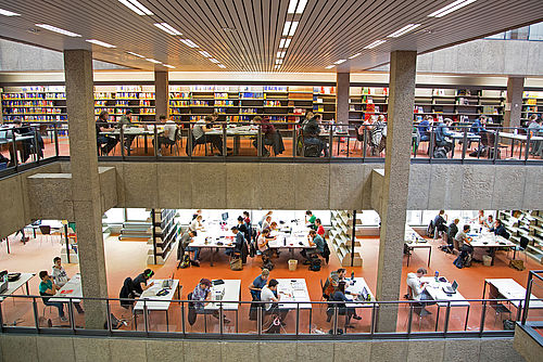 View of the reading rooms at the university library