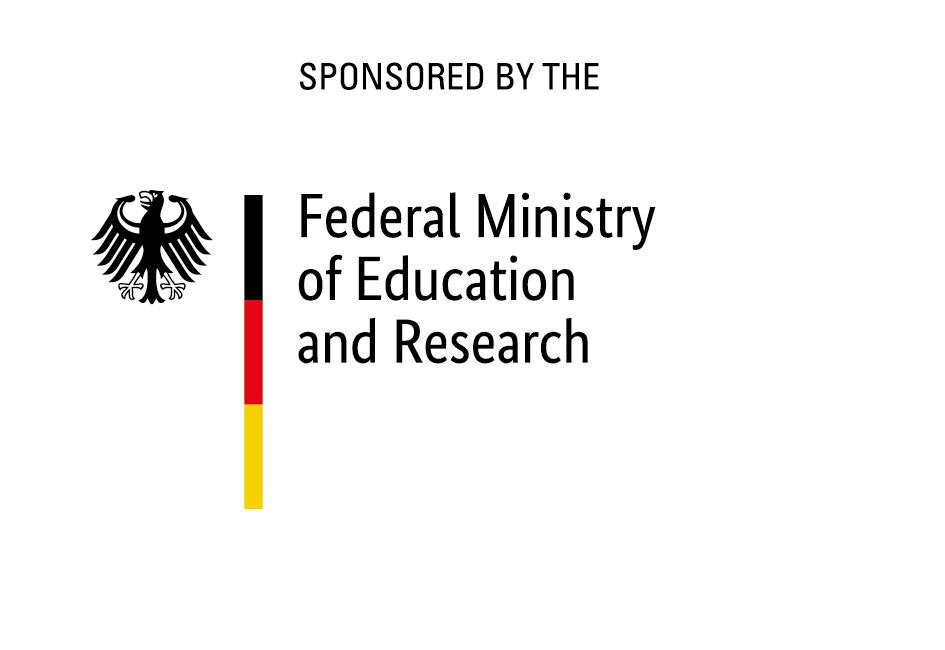 Logo des BMBF mit Textzusatz 'gefördert von', englische Version