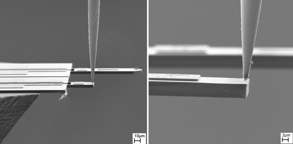 Nanopartikel auf Cantilever vor dem Umformen.