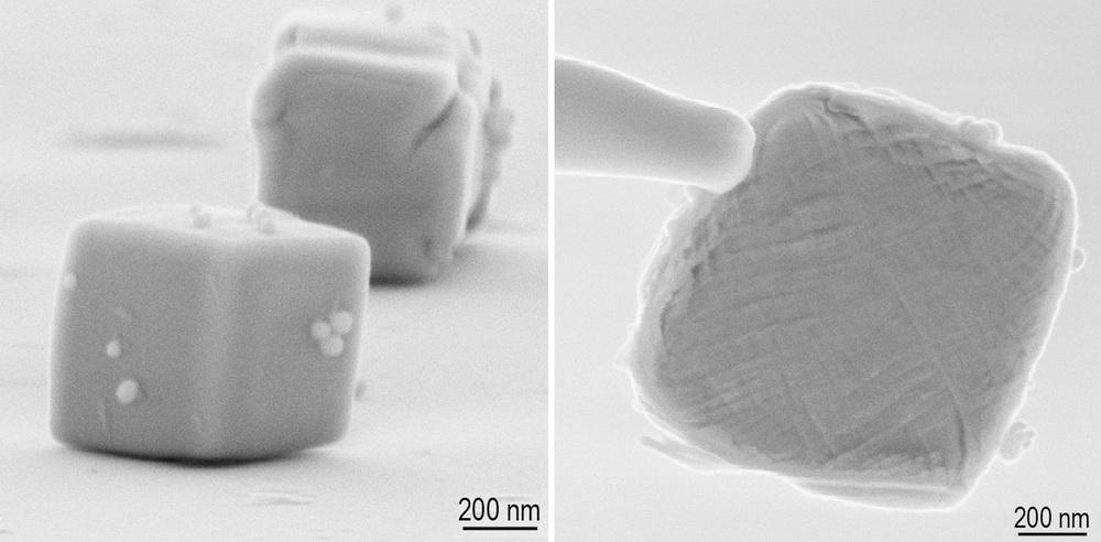 Freiformschmieden eines Nanopartikels.