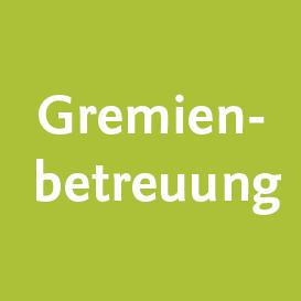 Hellgrünes Quadrat mit der Beschriftung Gremienbetreuung
