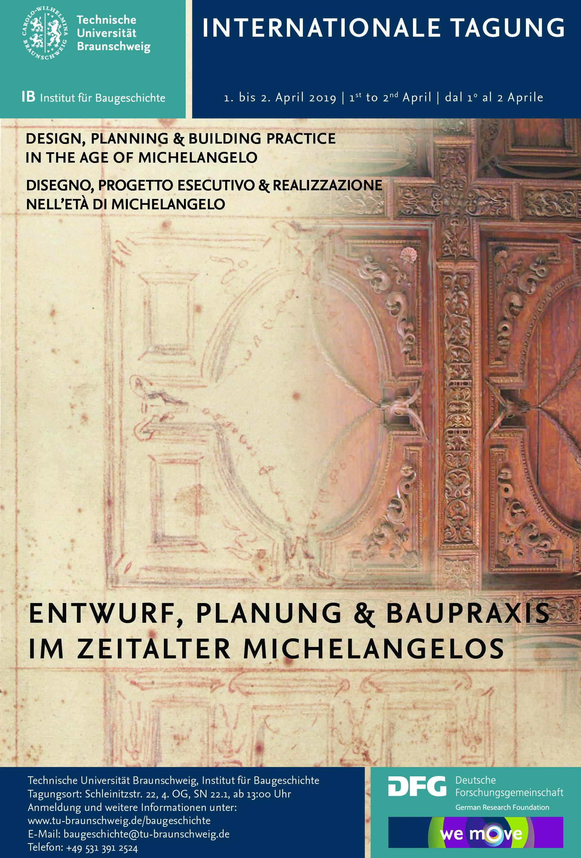 Ankündigung der Tagung Entwurf, Planung und Baupraxis im Zeitalter Michelangelos