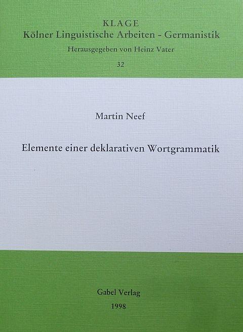 "Titel der Publikation ""Deklarative Wortgrammatik"""