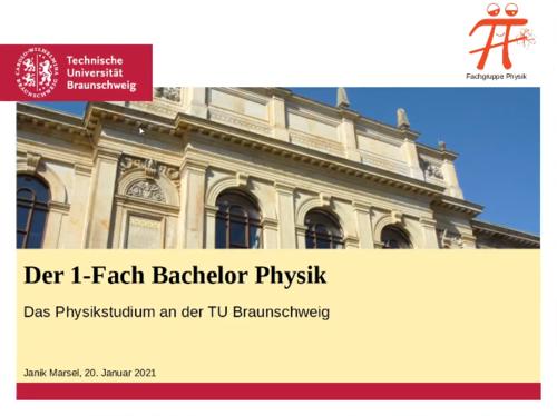 Titelfolie Vorstellung Studiengang Physik